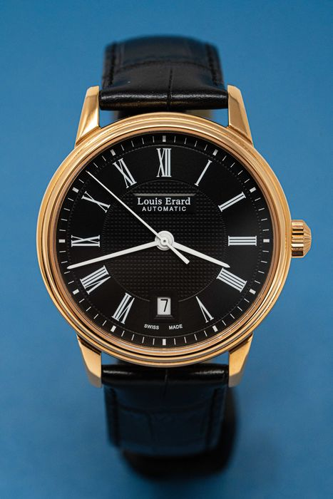 Louis Erard - Automatic Héritage Collection IP Rose Gold Plated Black Leather Strap - 69266PR22.BRC82 - Herren - Brand New