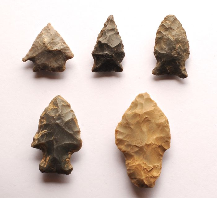 Prehistoric, Neolithic quartz flint Lot with 5 strikers from the USA, 27 - 50 mm - (5)