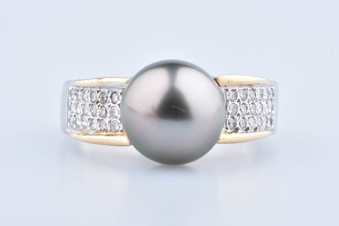 18 kt. Freshwater pearl, Yellow gold, 11.9 mm - Ring - Diamonds