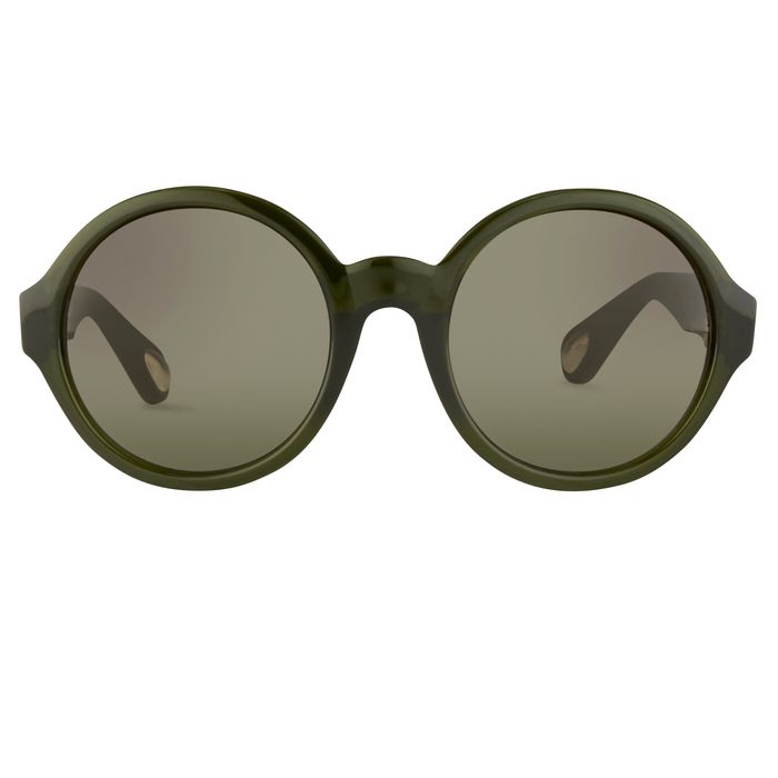 """Ann Demeulemeester - Round Green 925 Silver with Green Gradient Lenses CAT3 """"NO RESERVE PRICE"""" Sunglasses"""