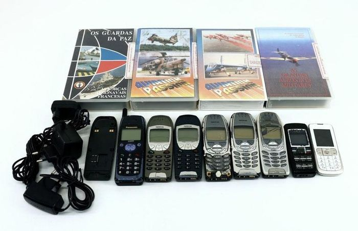 11 Nokia, Panasonic - cell phones and vhs movies