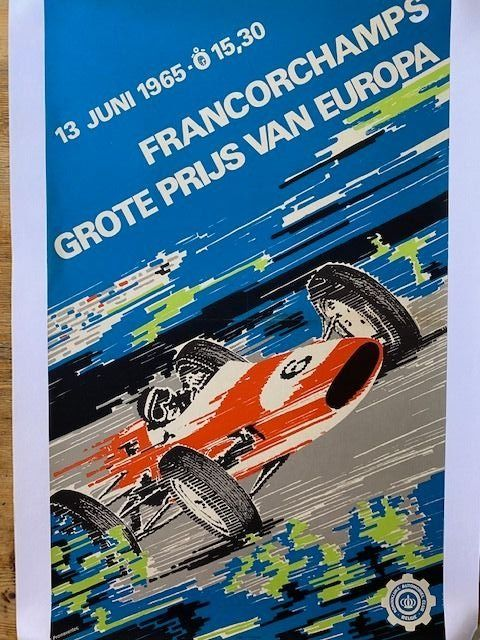 Poster - 1965 Belgium Grand Prix Spa Original period poster Rare Linen backed - Ferrari - 1960-1970