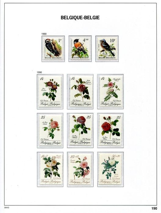 Belgium 1990/1994 - Five complete years as on DAVO LX album pages in description