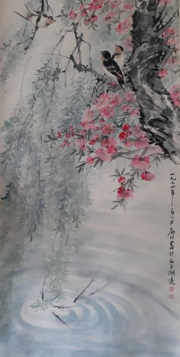 Inktschildering - Rijstpapier - 《陆抑非-花鸟》Made after Lu Yifei - China - Tweede helft 20e eeuw