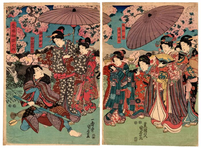 Díptico, Xilogravura original - Papel Washi - Kabuki play - Utagawa Kunisada II (1823-1880) - Uguisuzuka Monogatari 鶯墳物語之内 The Tale of the Grave of Uguisu - Japão - 1847-52
