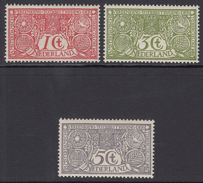 Netherlands 1906 - Fight against tuberculosis - NVPH 84/86
