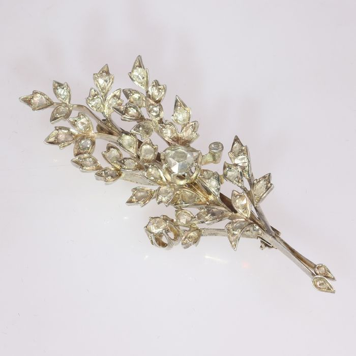 18 kt. Silver, Yellow gold - Brooch, Large Antique Branch Brooch, Anno 1860 - Diamond - Natural (untreated)