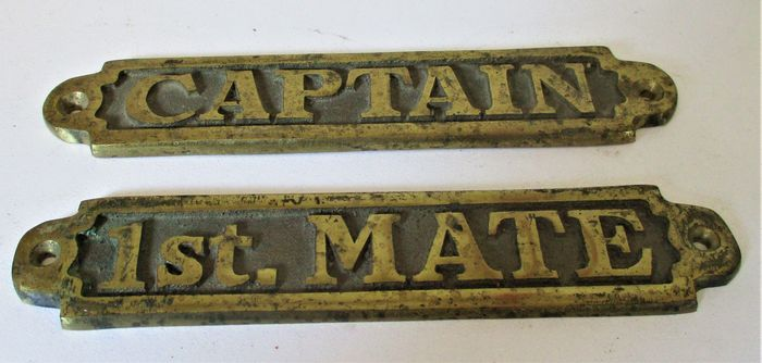 Copper cabin nameplates - Captain - 1st mate - Copper
