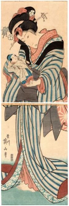 Original vertikales Diptychon mit Holzschnitt - Washi-Papier - Schönheit - Kikukawa Eizan (1787-1867) - Portrait of a Standing Beauty 立美人図 - Girl with Doll - Japan - 1820-30