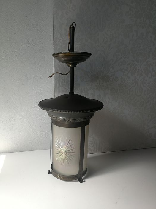 Very fine - Art Deco - Hall lantern, glass cylindrical glass with cut star (3 sides) - Brass, Glass