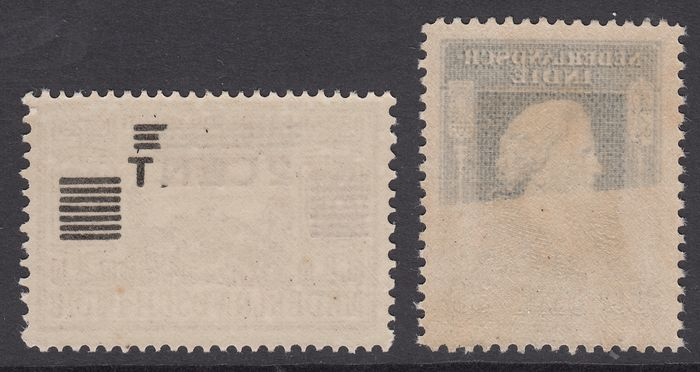 Dutch East Indies 1934/1945 - Clearance issue and Queen Wilhelmina, with mirror print - NVPH 212 + 313