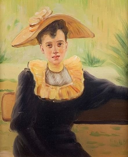 Europese school (20e eeuw) - Lady with hat at the park