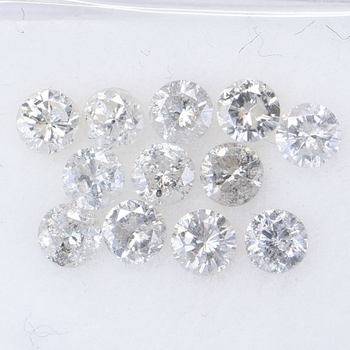 12 pcs Diamond - 0.86 ct - Brilliant, Round - Multiple Colors -  SI3 - I2  GWLAB certified    ** No Reserve Price **