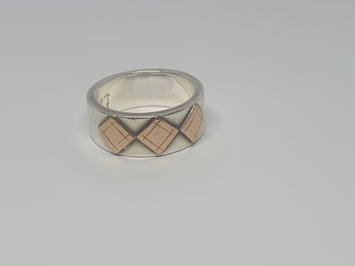 Handmade - 925 and 585 (14kt) Gold, Silver - Ring
