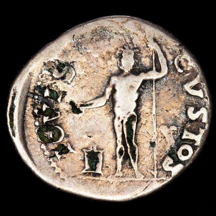 Römisches Reich - Fouree Denarius - Vespasianus (69-79 AD) Rome, 76 AD. - IOVIS CVSTOS, Jupiter sacrificing with patera over altar. - Bronze vier