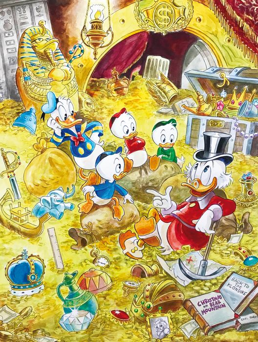 Duck Family Treasure inspired by Carl Barks - Large Giclée - Tony Fernandez Signed - Canvas 60 x 43 cm