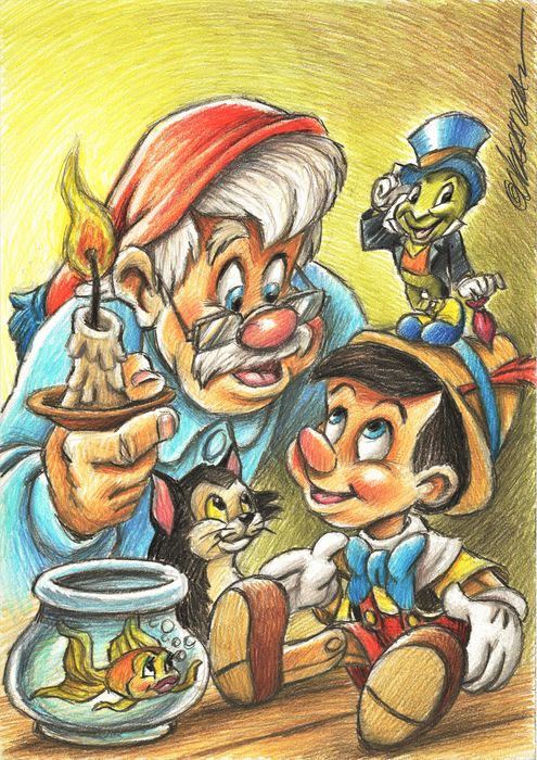 Pinocchio, Geppetto, Jiminy Cricket & Figaro - Original Drawing - Joan Vizcarra Signed - Original Artwork