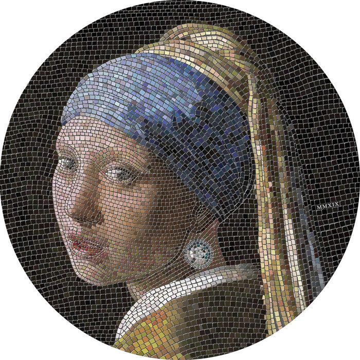 "Palau - 20 Dollar - 2019 - ""GIRL PEARL EARRING"" - Ragazza Orecchino Perla - Vermeer - Great Micromosaic Passion - 3 Oz - Silver"