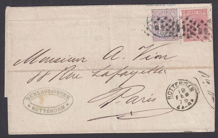 Netherlands 1876 - Folding letter with mixed postage National Coat of Arms King Willem III - NVPH 18 + 21
