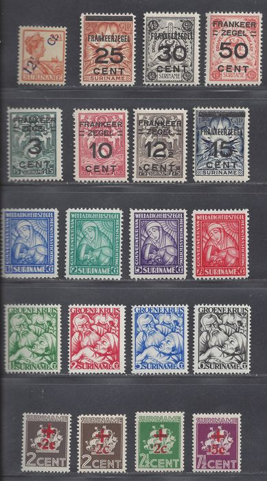 Suriname 1926/1945 - Various issues - NVPH 115, 130/136, 137/140, 141/144, 202/205