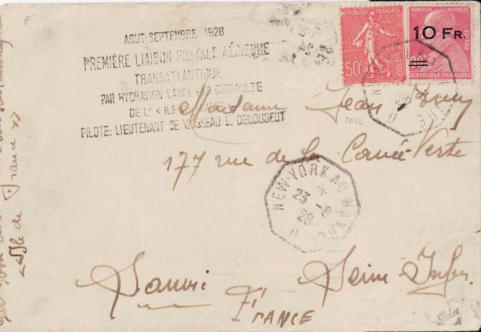 Frankreich 1928 - Berthelot, 10 francs on 90 centimes red with spaced overprint on the letter - Yvert Poste aérienne 3b