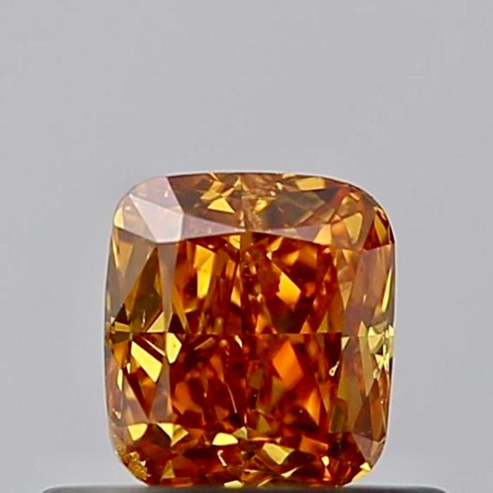 1 pcs Diamond - 0.43 ct - Cushion - fancy deep brownish yellowish orange - SI1