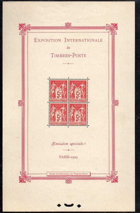 Frankreich 1925 - Block, International philatelic exhibition, Paris. - Yvert n° 1