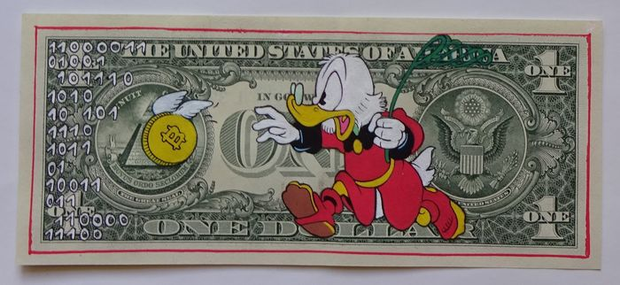 Uncle Scrooge - Scrooge McDuck - Uncle Scrooge - Scrooge McDuck - Chasing a Bit - 1 von 10 - Moabit - Mint condition - 1 original hand-painted currency - (2018)