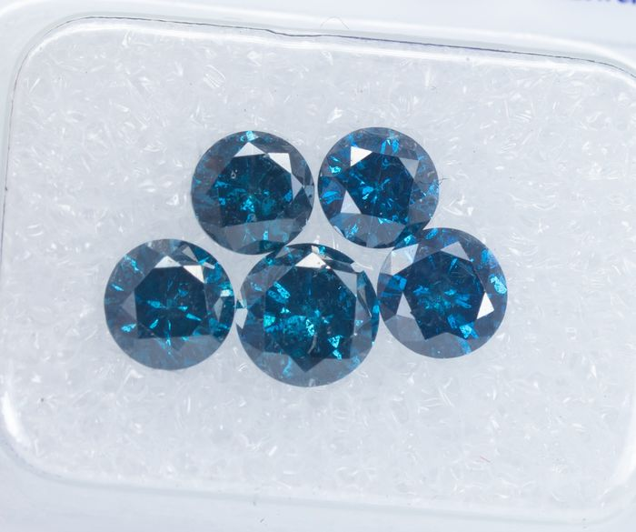5 pcs Diamanten - 1.77 ct - Lust auf tiefes Blau - SI-I1  *NO RESERVE* Treated colour