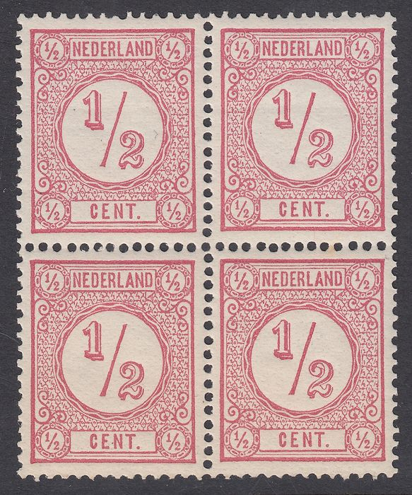 Netherlands 1876 - Printed matter stamps (old print), in block of four - NVPH 30