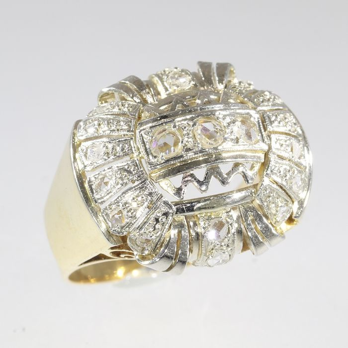 18 kt. White gold, Yellow gold - Ring, Large Vintage 1950's Cocktail Ring - Diamond - Natural (untreated) - Free resizing*