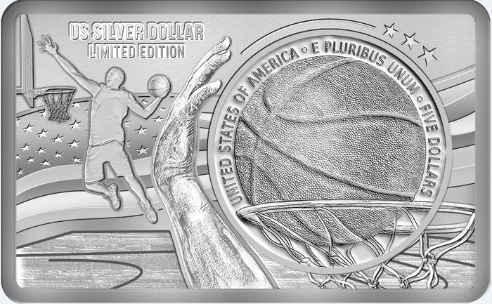 "United States. 5 Dollars - 2020 - ""HALL OF FAME"" - Basketball - Pallacanestro 60 Anniversario Bar incl. - 2 Oz"
