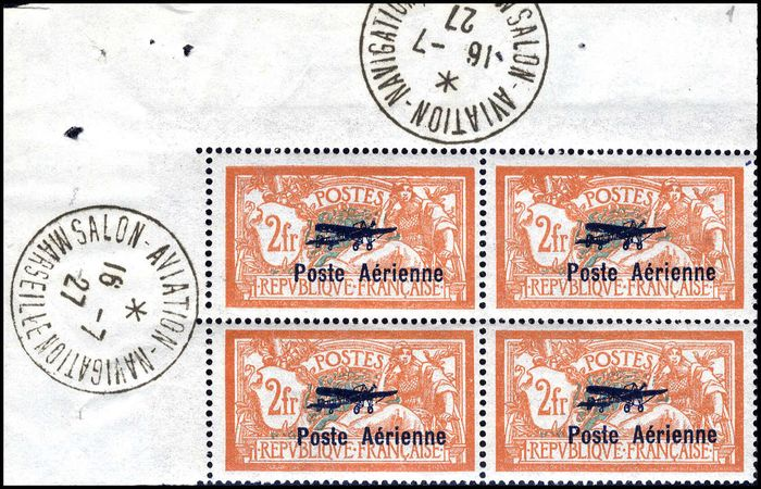 Frankreich 1927 - 2 francs orange and green-blue, block of 4. - Yvert Poste aérienne 1