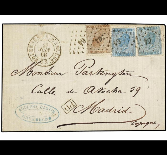 Belgium 1866 - Leopold in profile 18, 18A and 19 on a letter 27 JUIN 1866 / Molenbeek (LP64) - Madrid - Rarely used - OBP / COB 18, 18A & 19