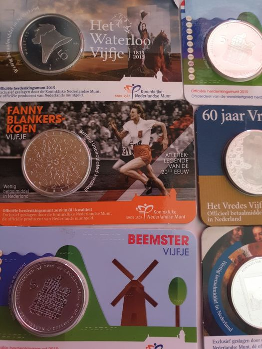 The Netherlands - 5 Euro 2015/2019 - Silver plated