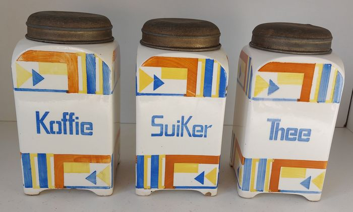 Art Deco coffee, sugar and tea storage containers (3)