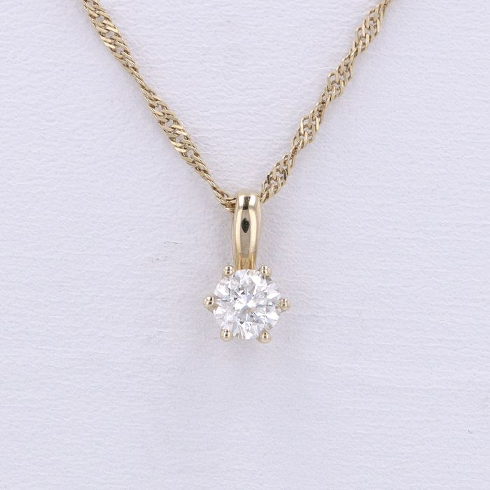 14 kt. Yellow gold - Necklace with pendant, Singapore Chain - 0.50 ct Diamond