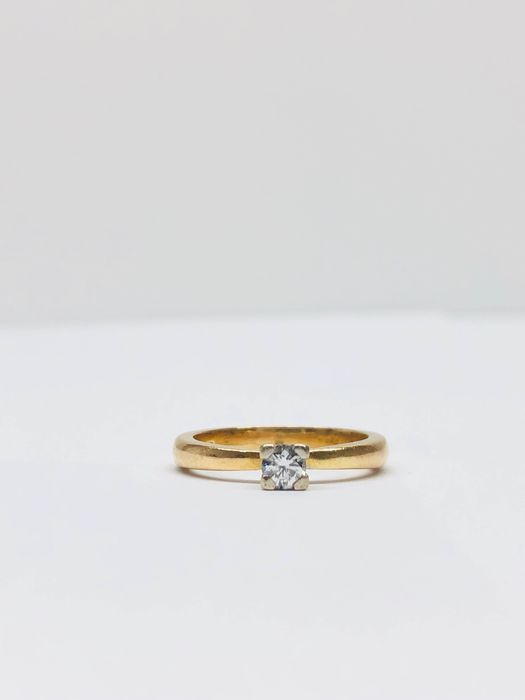 18 kt. White gold, Yellow gold - Ring - 0.16 ct Diamond