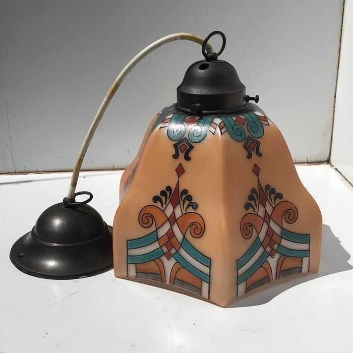 Art deco stained glass hanging lamp