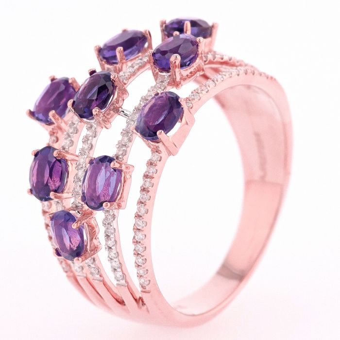 18 kt. Pink gold - Ring - 1.87 ct Amethyst - Diamonds