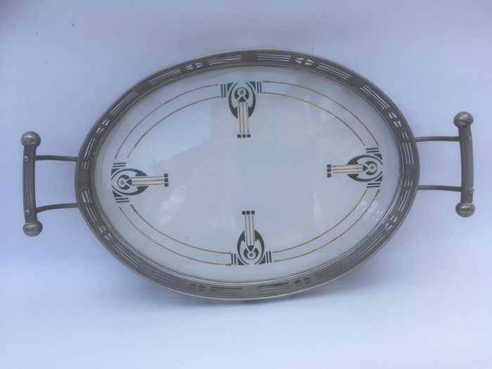 Art Deco - Gebr. Mehner - Beautiful tray with nickel-plated frame in good condition; design after decor Chris van der Hoef