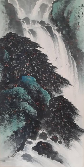 """Ink painting - Rice paper - 《黎雄才-瀑布》""""Waterfall landscape"""" Made after Li Xiongcai - China - Late 20th century"""