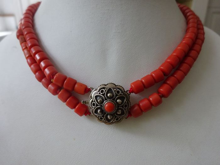 835 silber / rote Koralle - Collier