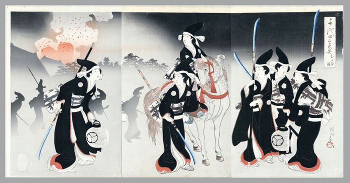 """Triptyque original sur bois - Toyohara Yoshu Chikanobu (1838-1912) - 'Otachi shirizoke' おたち退 (Spear Defence) - From the series """"The Inner Precincts at Chiyoda"""" - Japon - 1896"""