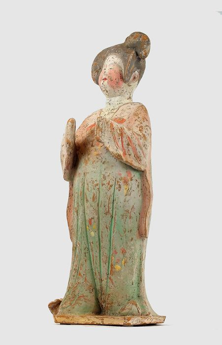Mingqi - Terracotta - A Superb Painted Pottery Figure of a Court Lady- Fat Lady, TL test, H - 49 cm. - Cina - Dinastia Tang (618-907)