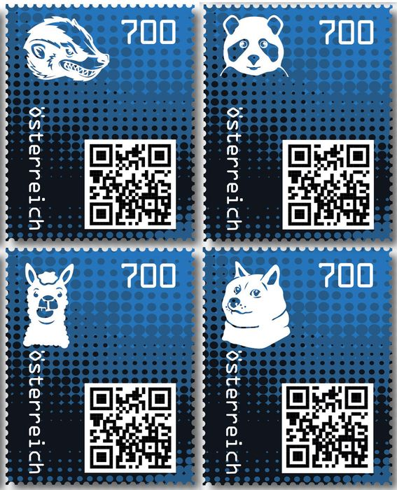 Austria 2020 - Crypto stamp 2.0, complete set, all 4 animals in the colour blue