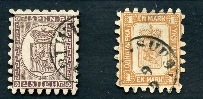 Finland 1858/1955 - Stamps of the period on pre-printed sheets