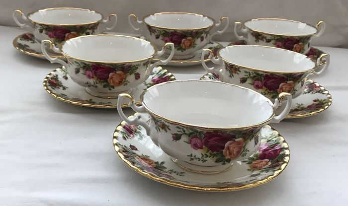 Royal Albert - Set of Six Old Country Roses Soup Bowl & Saucers (12) - Porcelain