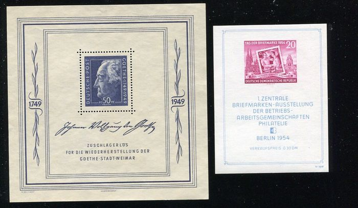 GDR - DDR and Post-Soviet zone 1949, two MNH blocks