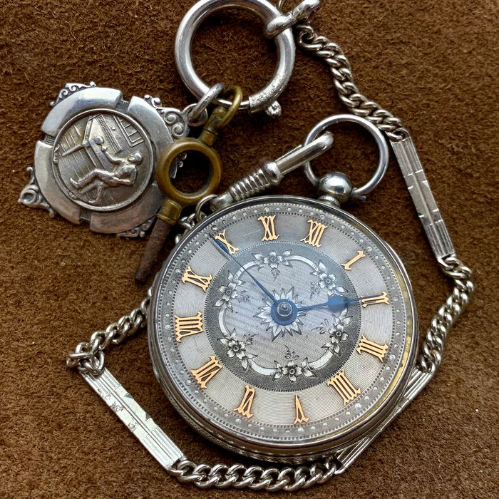 English Fusee pocket watch - NO RESERVE PRICE  - Silver Dial with Chain  - Unisex - 1853